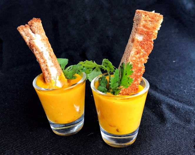 Spiced Red Lentils & carrot soup with grilled blue cheese fingers
